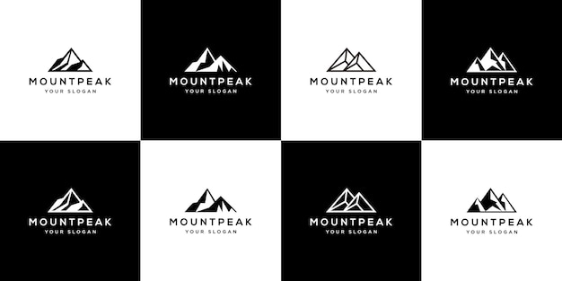 Set of abstract mountain logo template.