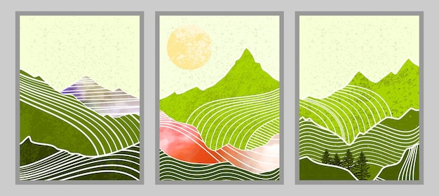 Set of abstract mountain painting. abstract art background. premium vectors