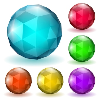 Set of abstract multicolored low polygonal sphere made of triangular faces with shadow