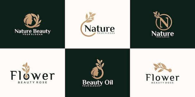 Set of abstract natural rose flower logo