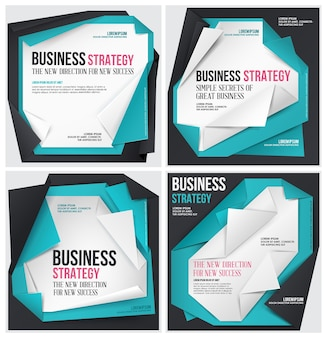 Set of abstract origami business template