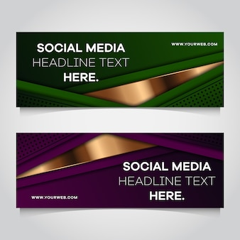 Set of abstract overlap banner template