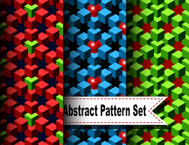 Set of the abstract pattern with cubes and balls
