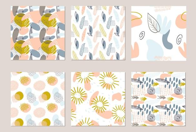 파스텔 색상의 유기적 모양으로 추상 패턴을 설정합니다. 관광 명소와 유기 배경입니다. 자연 텍스처와 콜라주 완벽 한 패턴입니다. 현대 직물, 포장지, 벽 예술 디자인