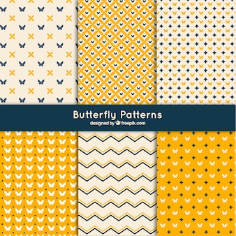 Set of abstract patterns with butterflies