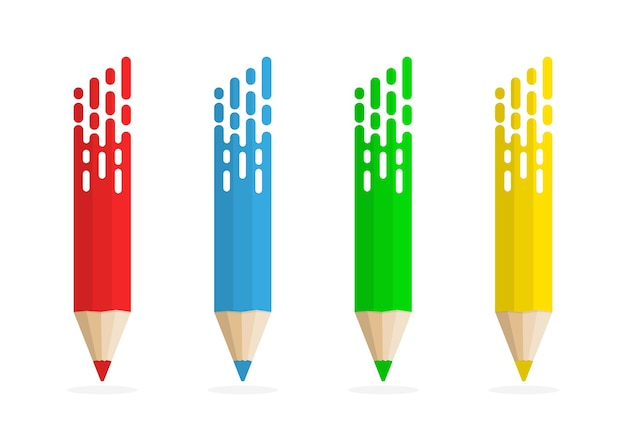 Set of abstract pencils.  colored pencils on white background with shadow.
