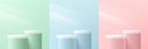 Set of abstract pink green blue and white 3d cylinder pedestal or stand podium with lighting