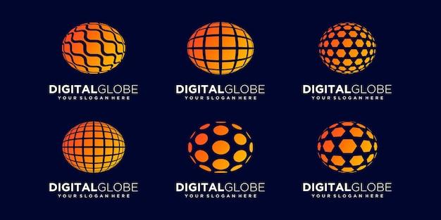 Set of abstract planet data digital technology logo design vector template.