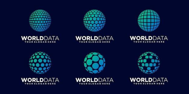 Set of abstract planet data logo design vector template.