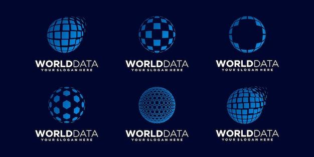 Set of abstract planet data technology logo design vector template.