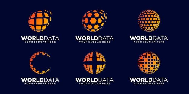 Set of abstract planet digital logo design vector template.