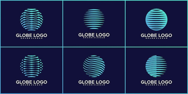 Set of abstract planet technology logo design colection premium vektor