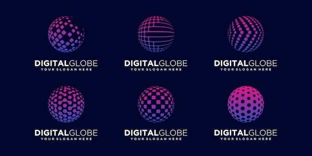 Set of abstract planet technology logo design vector template.