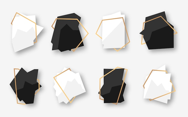 Set of abstract polygonal geometric black and white banner with gold frame. empty template for text. luxury decorative modern polyhedron frame.
