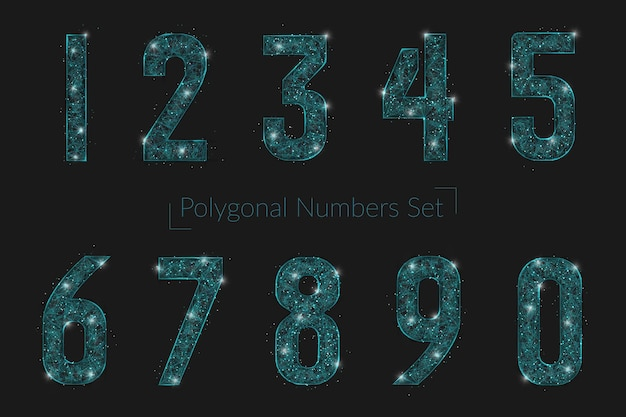 Set of abstract polygonal numbers looks like stars in the blask night sky in spase or flying glass shards. digital design for website, web, internet