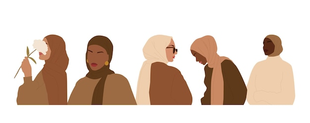 A set of abstract portraits of international women in hijab. muslim faceless female. minimalist vector illustration, isolated on a white background