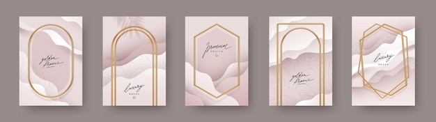 Set of abstract poster realistic golden frames and arches on fluid   background
