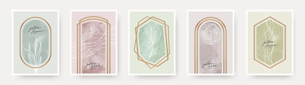 Set of abstract poster realistic golden frames and arches with hand drawn plants