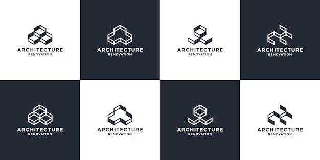 Set of abstract real estate logo design. box concept for smart architect