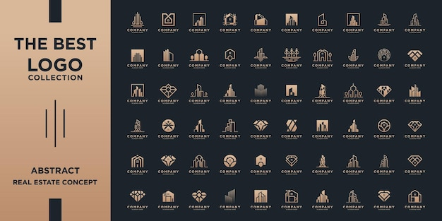 Set of abstract real estate logo template. mega collection with golden concept for building, architecture, house, apartment, hotel, logo element.