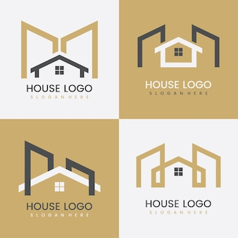 Set of abstract real estate logo template