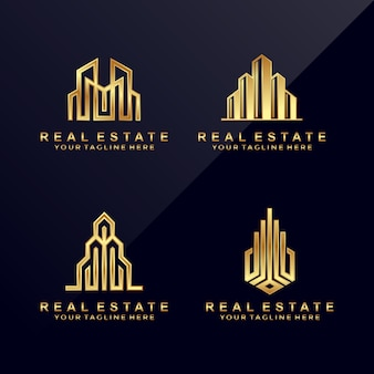 Set of abstract real estate logo.