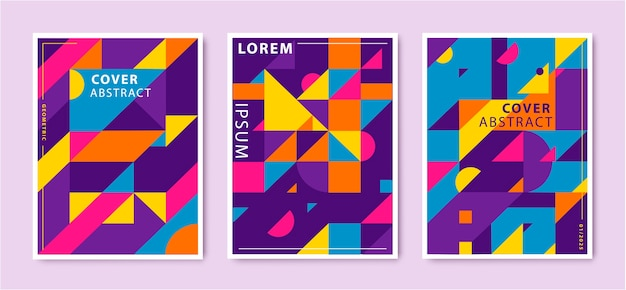Set of abstract retro graphic design covers, geometric design template. cool vintage shape compositions. blue, purple, yellow, red