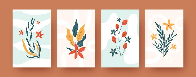 Set of abstract romantic floral elements in pastel colors. contemporary artistic botany  illustration templates. nature and blossom concept