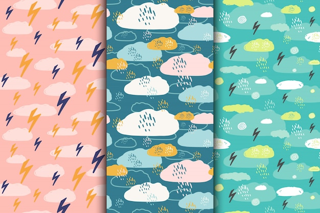 Set of abstract seamless hand drawn hipster patterns with clouds, rain drops, lightning, sky. illustration.