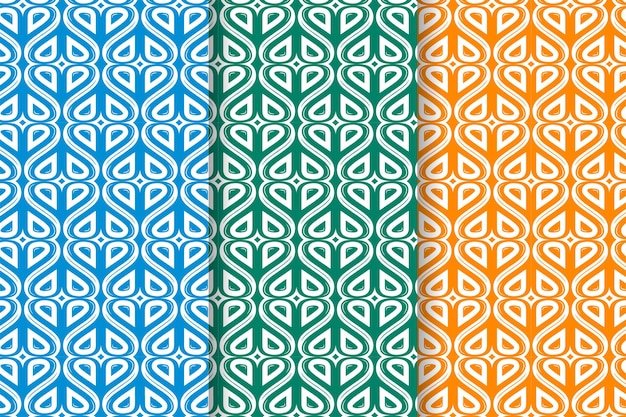 Set of abstract seamless hand drawn patterns with hearts on vibrant background three color selected are blue green and orange can used for advertising banner brochure and valentine cards