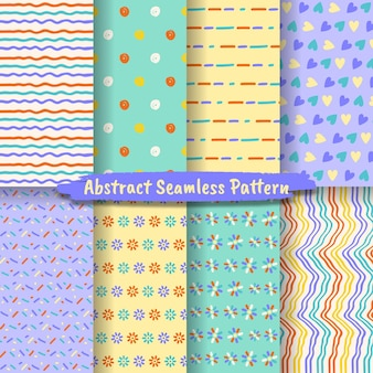Set of abstract seamless pattern, hand drawn trendy abstract pattern