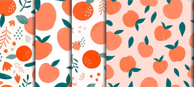 Set of abstract seamless patterns with fruits