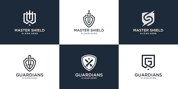 Set of abstract shield logo design. creative logo can be used for company, product etc