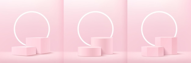 Set of abstract soft pink cube round and hexagon display for product on website in modern.