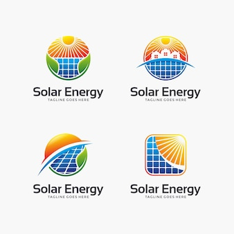 Set of abstract solar energy logo design.