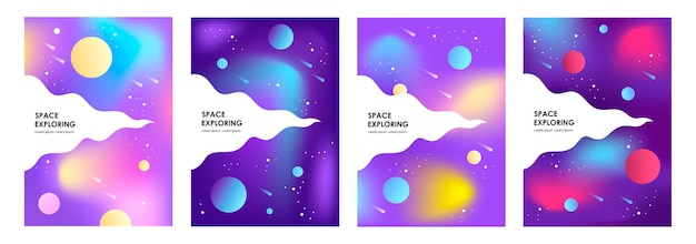 Set of abstract space banners
