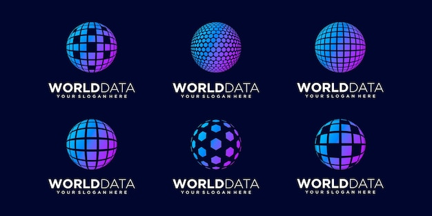 Set of abstract sphere data logo design vector template.