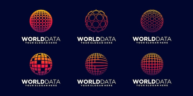 Set of abstract sphere data tech logo design vector template.