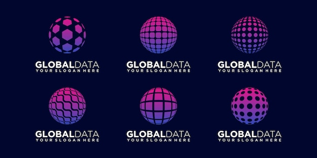 Set of abstract sphere data technology logo design vector template.