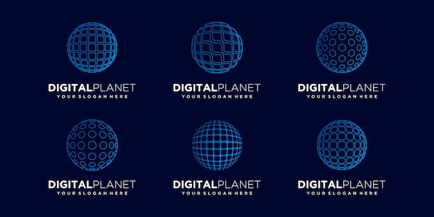 Set of abstract sphere logo design vector template.