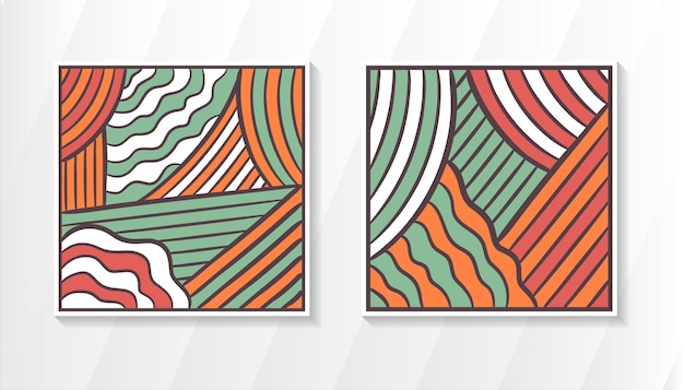 Set of abstract square background template design retro style with dark grey outline