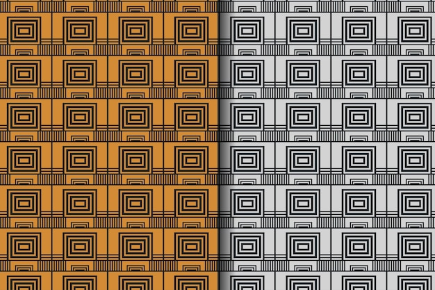 Set of abstract square and rectangle seamless pattern design template in black background the element pattern use silver and gold colors