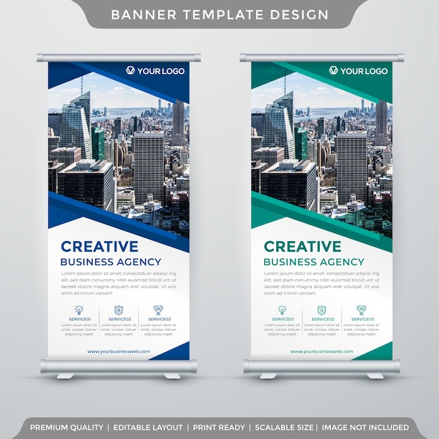 Set of abstract stand banner template