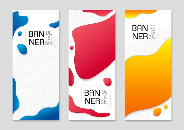 Set of abstract standing banner background design of fluid colors
