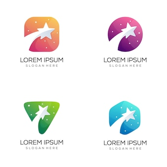 Set of abstract star logo bundle