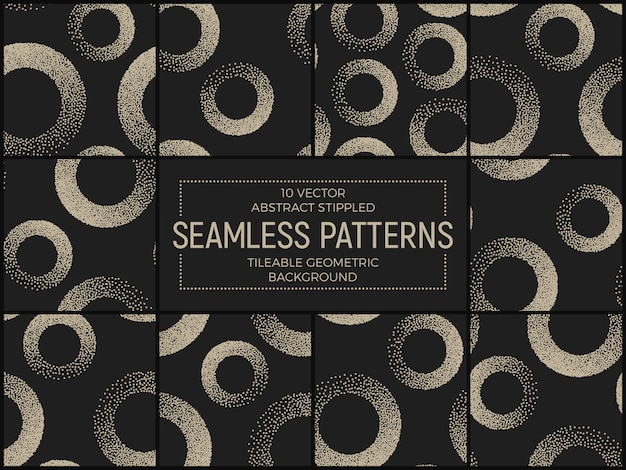 Set of abstract stippled seamless patterns