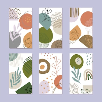 Set of abstract story backgrounds. hand drawn natural pattern in trendy style.