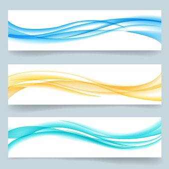 Set of abstract swoosh smooth wavy line headers or banners. card paper, curve motion