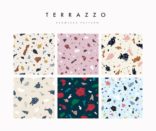 Set abstract terrazzo seamless pattern
