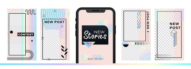 Set of abstract trendy design for stories with dispersion effect